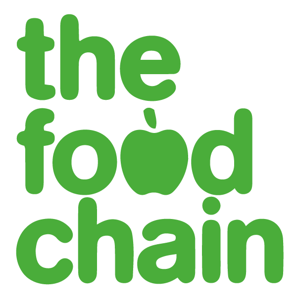 """the food chain in green text, the """"O"""" in food is an apple"""
